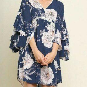 Bluheaven Umgee Dress Floral Crochet Ruffle